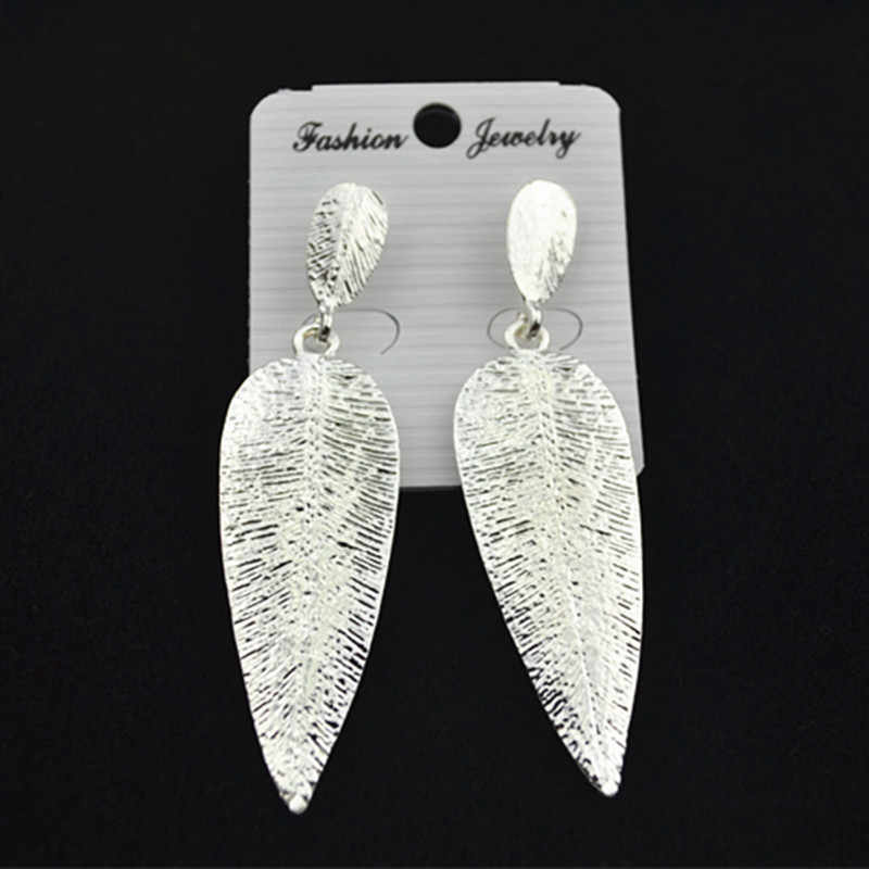 COWNINE новые женские модные ювелирные изделия для девушек серебряные золотые серьги-гвоздики для ушей женские серьги-подтяжки с листьями серьги-гвоздики ювелирные изделия