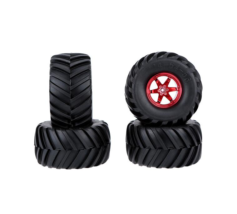 Free Shipping 4PCS 1/10 RC Monster Truck Tire Rubber Tires Red/Blue/Silver Diameter 134mm 4pcs rc crawler truck 1 9 inch rubber tires