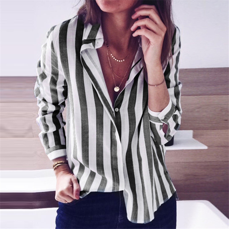 Women Blouses 2019 Fashion Striped Shirt Casual Turn Down Collar Blouse Ladies Office Shirts Long Sleeve Tunic Top Blusas Mujer