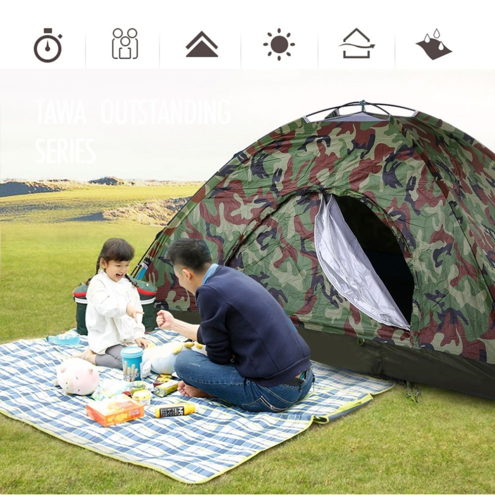 Independent 2 Person Waterproof Camping Tent Outdoor Fishing Single Layer Pop Up Anti Uv Tourist Tent For Wigwam Beach Hiking Hunting + Bag