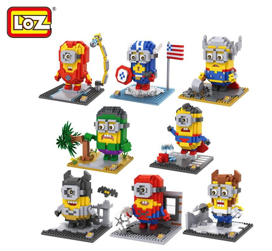 Kawaii LOZ Super Hero Minons Micro Blocks Minion DIY Building Bricks Super Man 3D Auction Figure Toys Anime Kids Toys 9536-9543 2015 new gift smae as loz building blocks small animal minion mario transformation minifigures cartoon characters 3d bricks toys