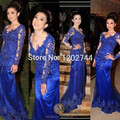 Illusion Scalloped Neckline Long Sleeve Royal Blue Evening Dress with Lace Appliques Long Fitted Prom Dress