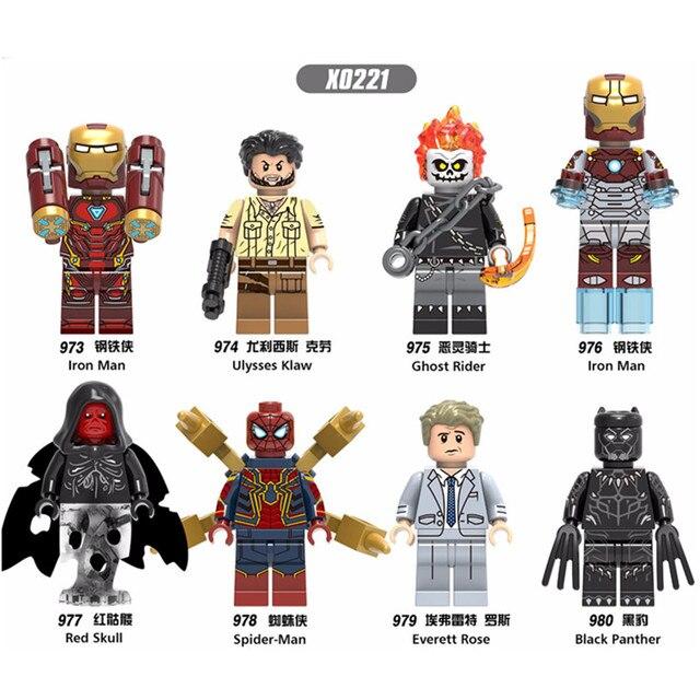 X0221 The Avengers Iron Man Cavaleiro Mal Spiderman Ulysses Skau Kit de Montagem do Enigma Blocos de Construção de Brinquedos As Crianças Presentes