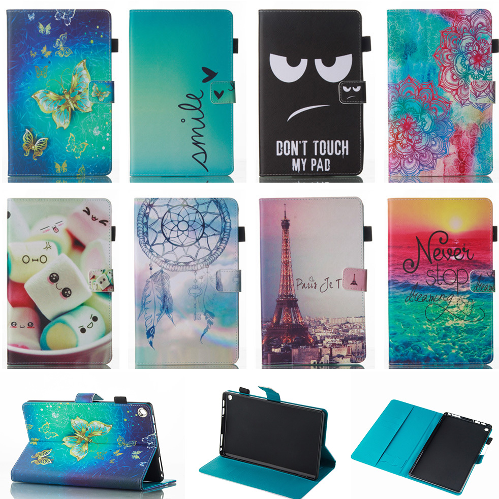 Fashion Butterfly Pattern PU Leather Flip Cover Case For Amazon Kindle Fire HD 8 HD8 2016 8 inch Tablet Shell Protector Funda