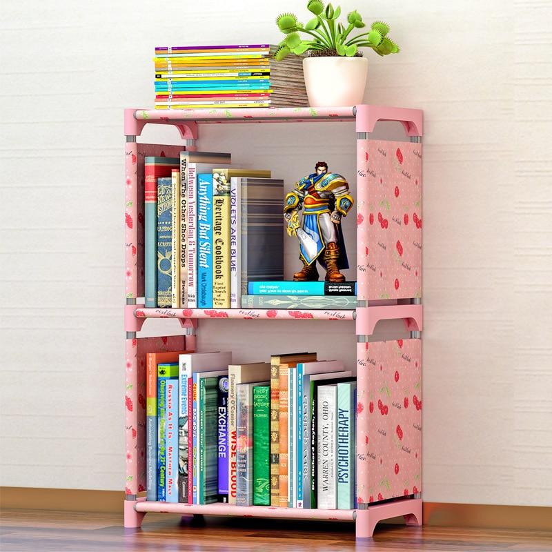 Simple Book Shelf Bookcase Locker Rack Creative Combination Layer Shelf Landing Children Bookcase Folding Portable