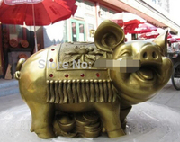 0 7 Chinese Pure Brass Copper refined Carved Lucky coin Money Pig statuary statue