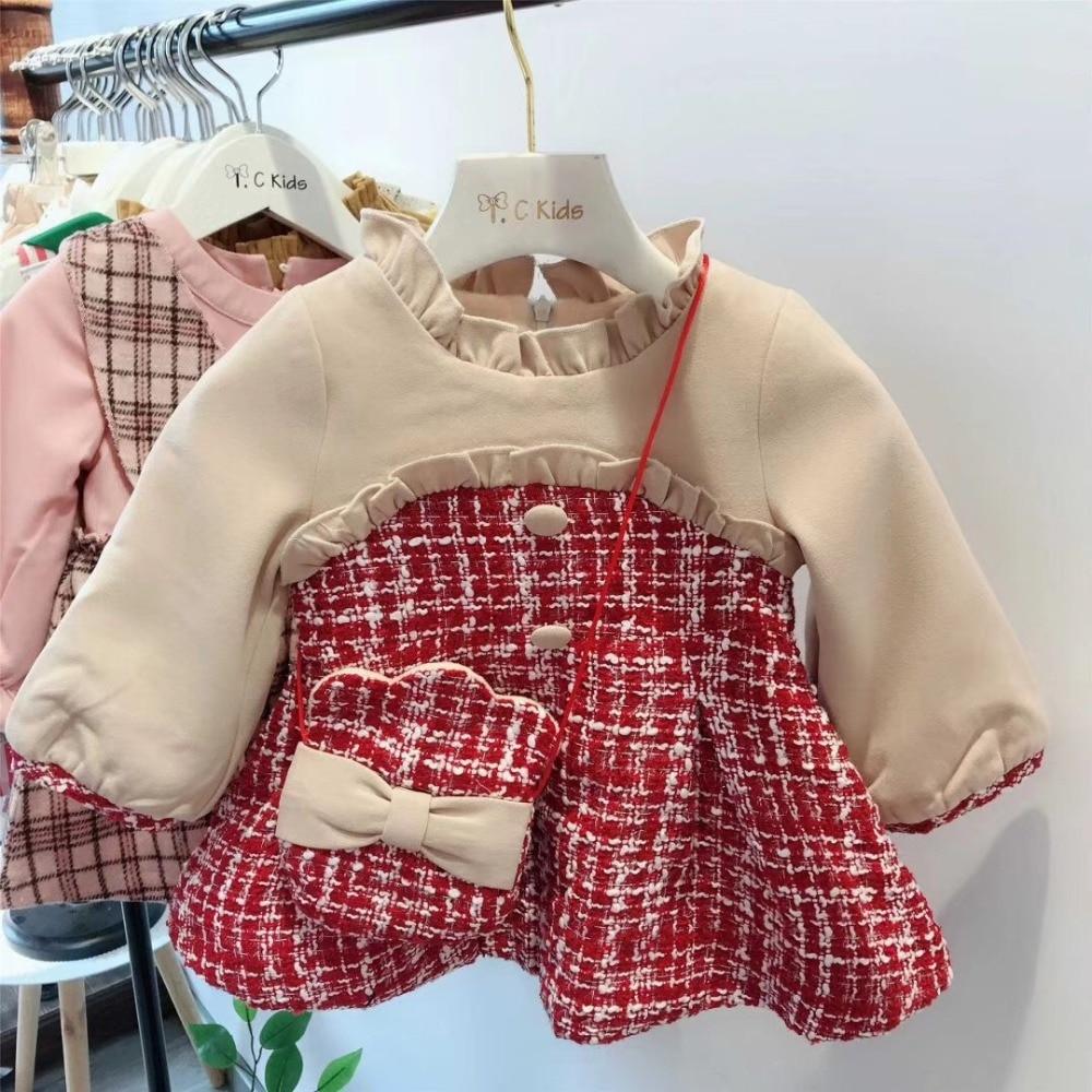 Toddler dresses winter thick warm dress fleece lining long sleeve new born baby girls dress plaid long sleeve belted midi dress