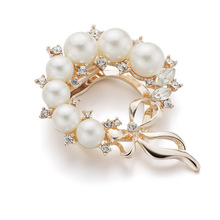 Pearls and Crystals Scarf Clip Brooch Pin