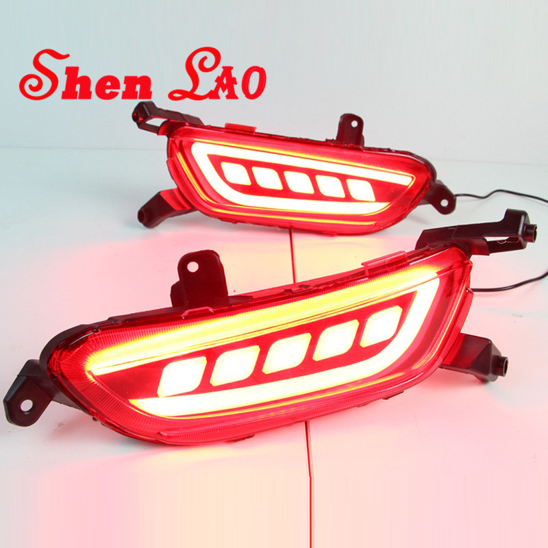 Shenlao For Mazda CX 3 2016 2017 Car LED Rear Fog Lamp Bumper Light Auto Brake Light LED tail warning lights car accessories
