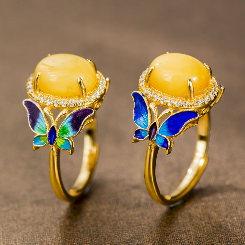 2018 New Style Vintage Butterfly Ring Delicate Rings for Women S925 Ethnic Jewelry Finger Party Ring Ladies Rings Bagues Femme
