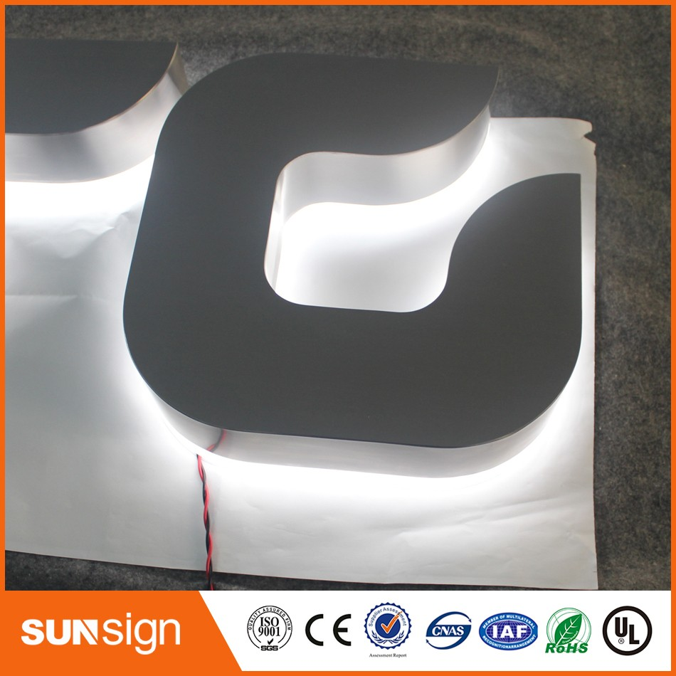 Custom Illuminated Brushed Stainless Steel Letter LED Backlit Letters