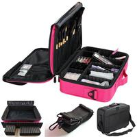 Waterproof Makeup Bag Cosmetic Artist Organizer Case 3 Layer with Adjustable Straps for Makeup Brush Set Hair Nail Beauty Tool