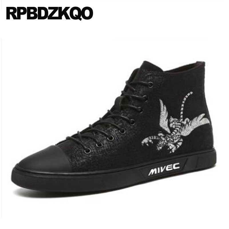 Black Ankle Booties Winter Men Boots With Fur Autumn Embroidered Shoes Flat Sneakers Trainer Canvas Lace Up Pattern High Top stud high top flat booties metalic sneakers rock ankle shoes winter men boots with fur brown rivet punk black zipper trainer