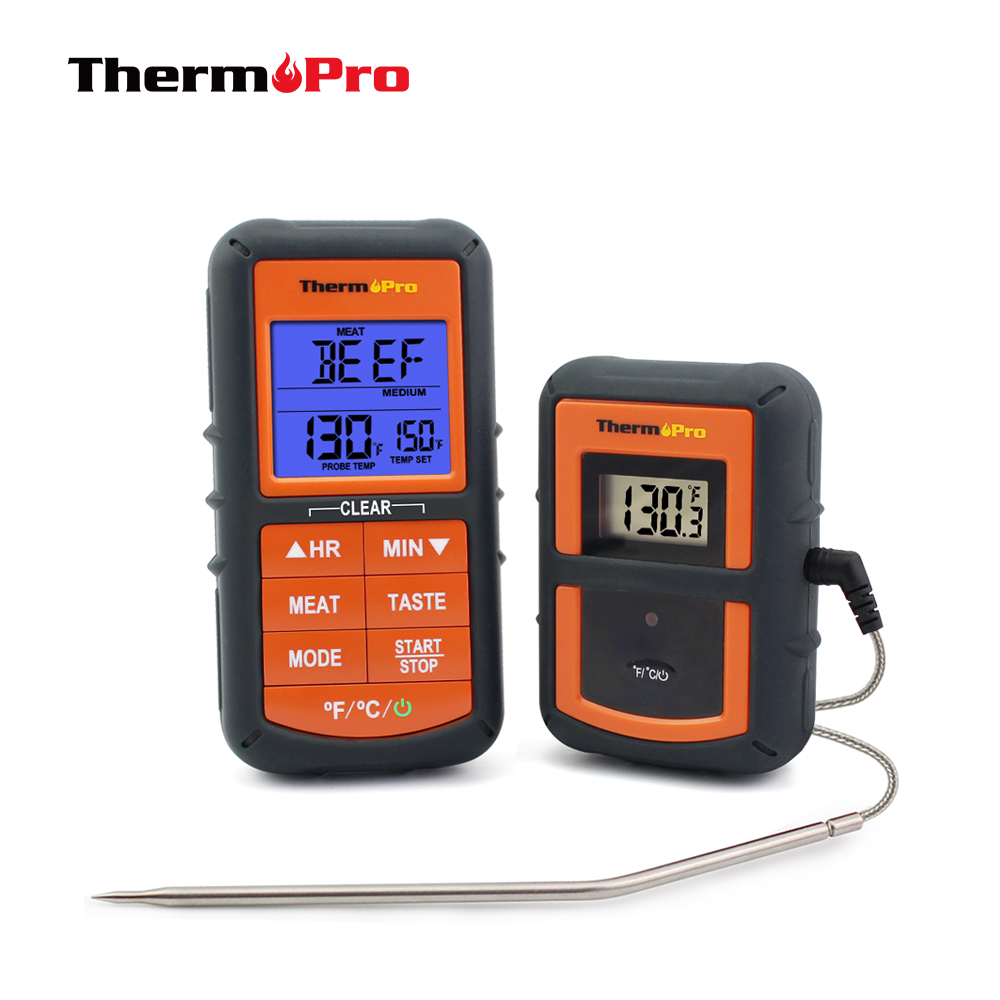 ThermoPro TP-07 300 feet Range Wireless Thermometer - Remote BBQ, Smoker, Grill, Oven, Meat Thermometer and Timer meat thermometer for smoker