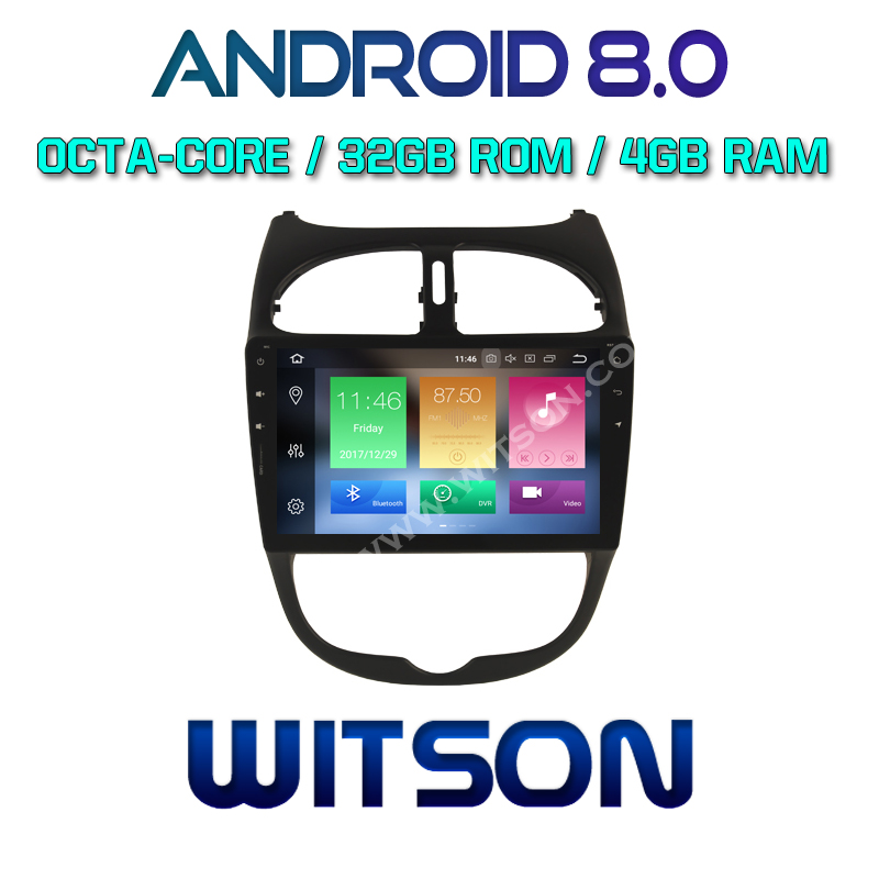 WITSON Android 8.0 Octa- core (Eight-core) 4G RAM CAR DVD PLAYER GPS For PEUGEOT 206 dvd car audio car dvd gps with bluetooth