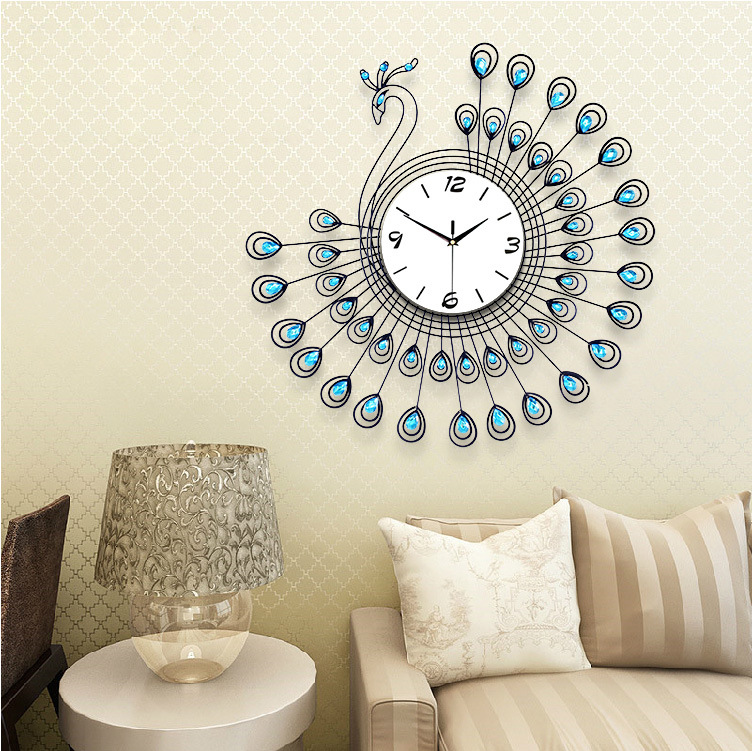 The Peacock Creative Living Room Large Wall Clock European Mute Quartz Bracket Clocks Wrought Iron Decoration