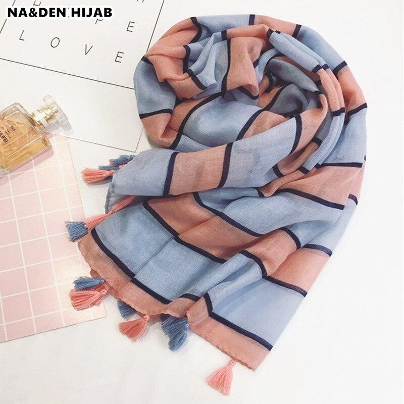 2018 Hot sale vintage striped foulard soft tassel Muslim hijab geometric women scarf pashmina bandana wraps shawls