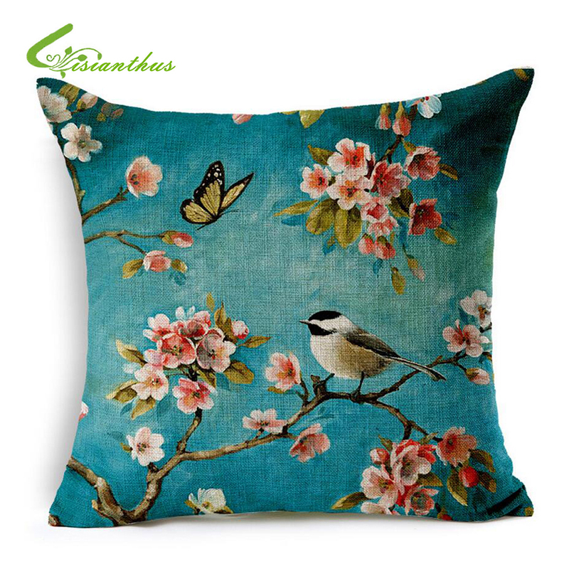 europe oil painting bird blue cushion cover cotton linen throw pillow case flowers linen cotton french country style decor - Cheap Country Decor