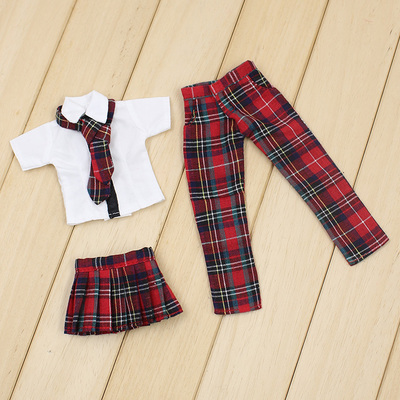 Free shipping for blyth doll icy licca Red Plaid Uniform skirt pants suit clothes gift toy 1/6 30cm цена и фото
