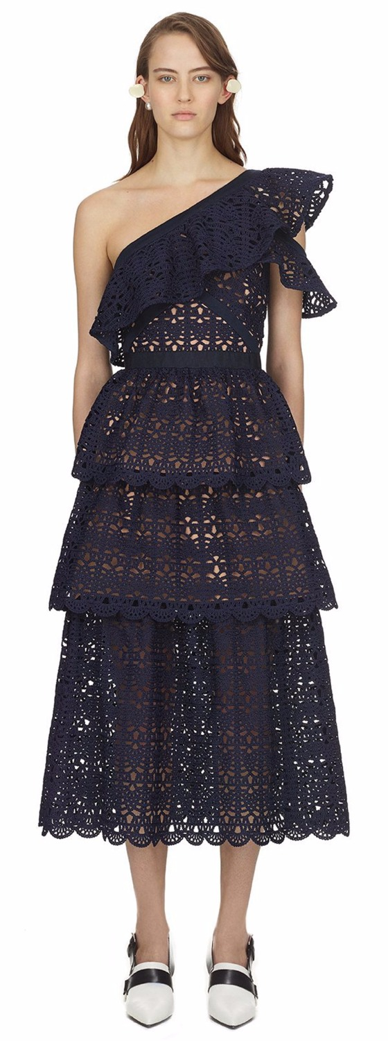 2018 summer one shoulder navy blue midi lace dresses high quality