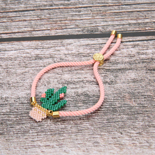 Shinus 10pcs/lot  MIYUKI Bracelet Cactus Bracelets Pulseras Pink Delicas Seed Beads Green Women Jewelry Gifts Wholesale