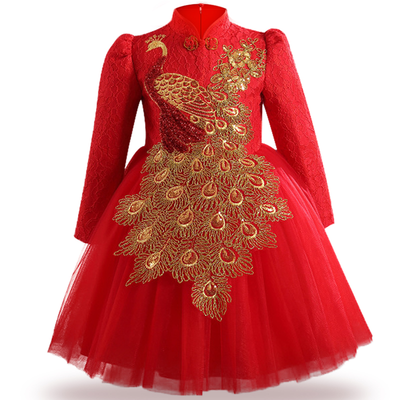 Christmas Clothes Autumn/winter girl dress long-sleeve creative embroidery Chinese style children's dress red New Year Clothes toddler girl dresses chinese new year lace embroidery flowers long sleeve baby girl clothes a line red dress for party spring
