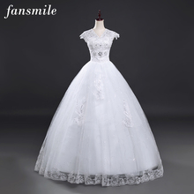 Fansmile Real Photo Sexy V-neck Ball Wedding Dresses 2017 Plus Size Vintage Lace Wedding Gowns Vestidos de Novias Free Shipping