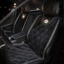 Winter Diamond Plush Fur Car Seat Cover Rivets Car Styling Auto Seat Cushion Interior Accessories Universal Front Seats Covers цены онлайн