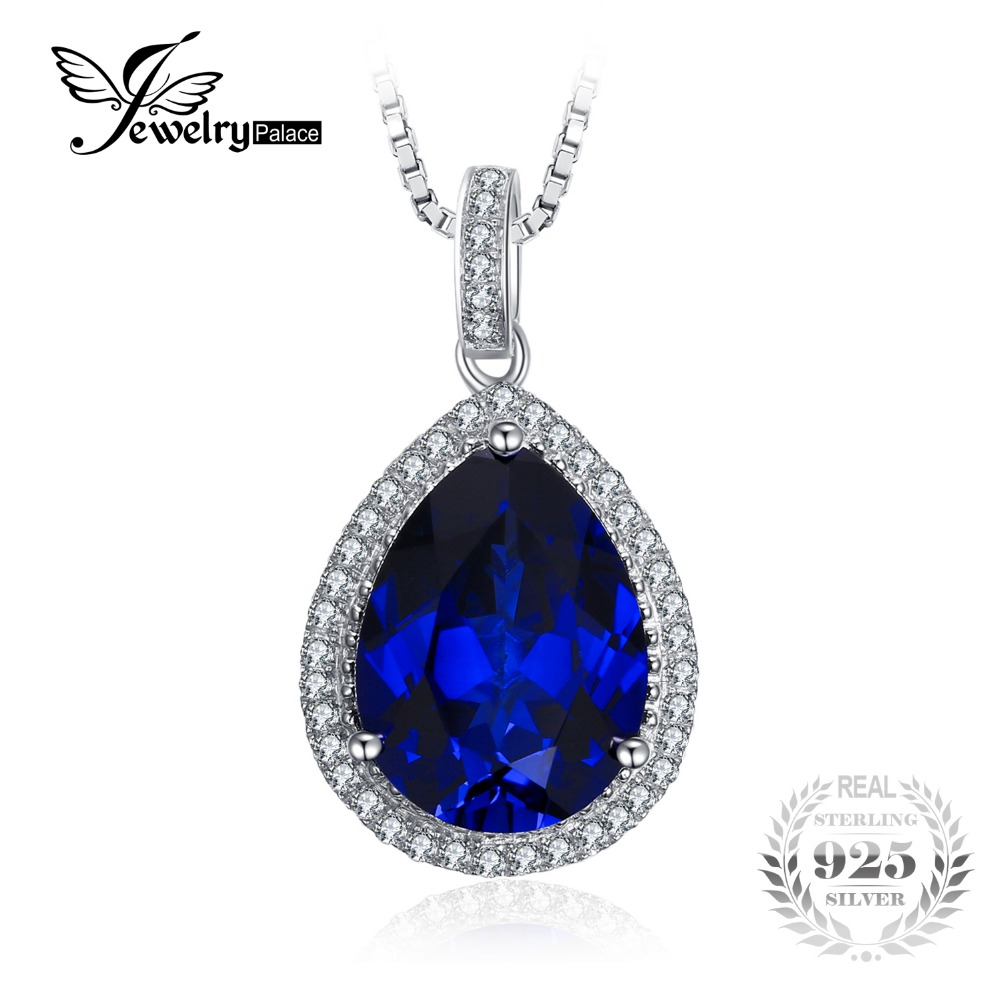 11.08ct Water Drop Created Sapphire Pendant Pure 925 Sterling Solid SilverJewelry for Women Not Include the Chain