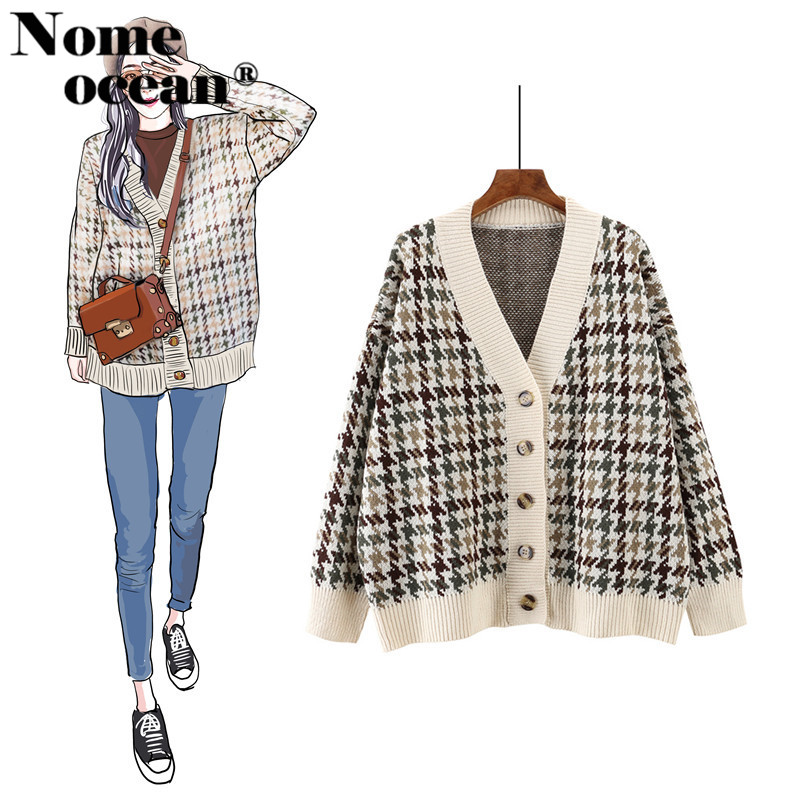Knitted Plaid Cardigan Coats For Women 2018 Autumn And Winter Thick Morhair Cardigan Check Outwear Cardigans Overcoat M18090122 Promoting Health And Curing Diseases
