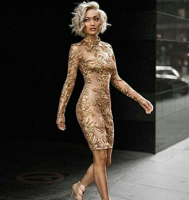 2018 new fashion top quality nude long sleeve sequined dress winter Sexy evening New Year Christams Party Bodycon dresses  R-8