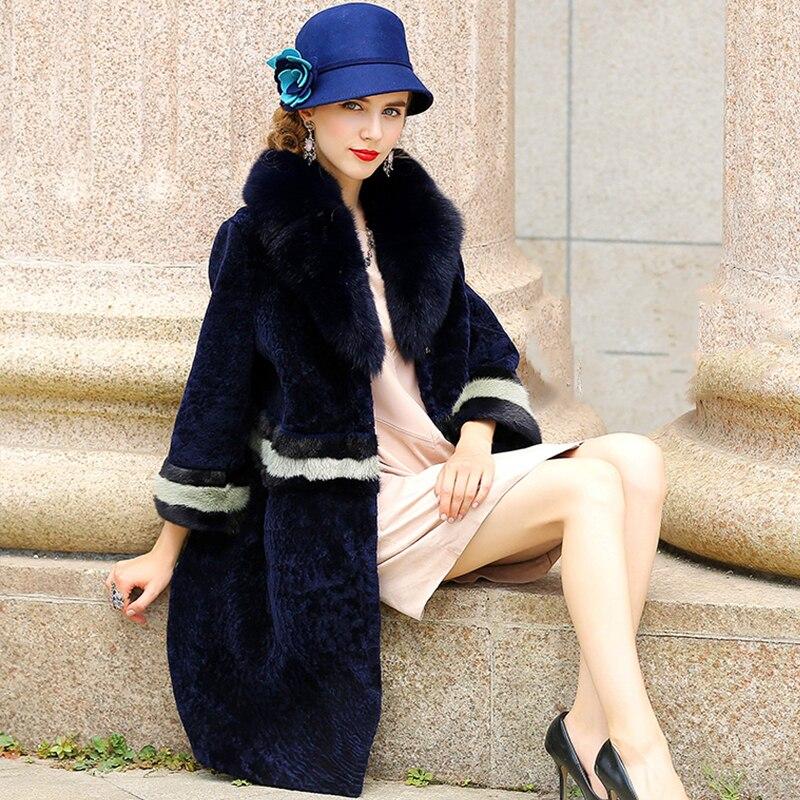 LVCHI Musim Dingin perempuan Mantel Bulu Nyata Kulit Hitam Putih Mink - Pakaian Wanita - Foto 2