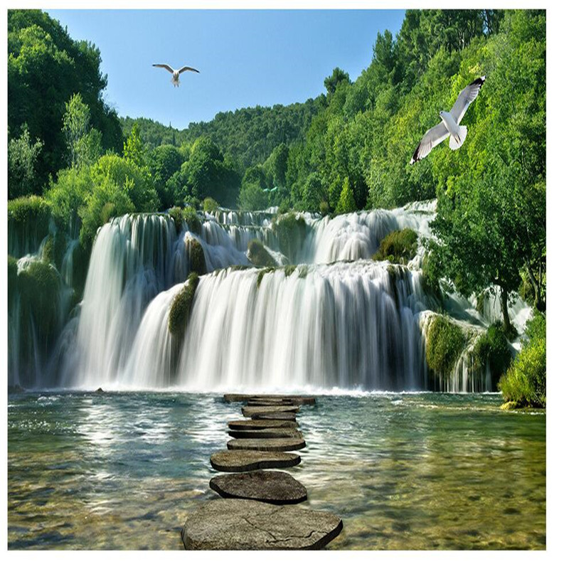 Beibehang Custom Painting For Green Forest Creek Waterfalls Art Photos Background Photography Bedroom Mural Wall Wallpaper 3d