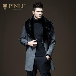 Pinli 2020 зимняя Новинка скидка распродажа шерстяное пальто с отворотом из искусственного меха однотонное длинное повседневное мужское тепло...