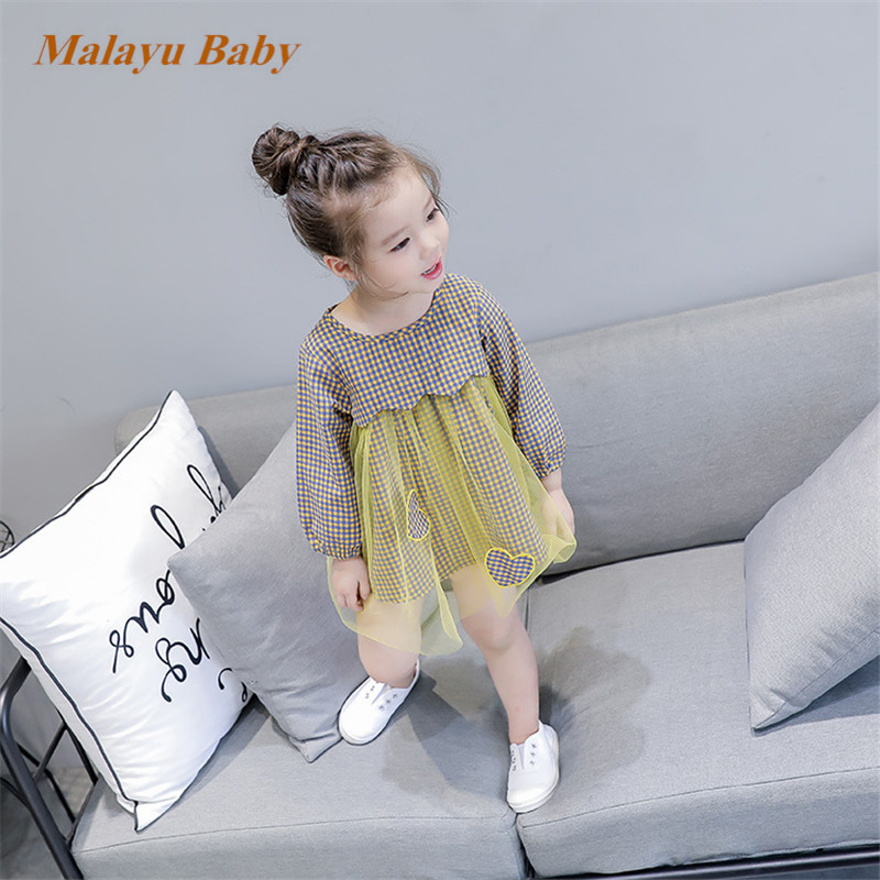 Malayu Baby Little girl spring summer 2018 brand Bohemian style girls plaid long-sleeved dress gauze love doll shirt dress 1-5 Y sleep professor spring love