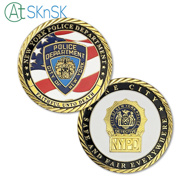 US $5 74 40% OFF|1pcs US Flag New York City Police Department NYPD  Challenge Coin Gold Plated 45*3mm-in Non-currency Coins from Home & Garden  on
