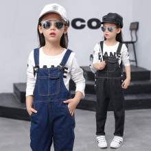 Girls Autumn Pants New Korean Children Cowboy Siamese Trousers Kids Overalls Demin Black Blue