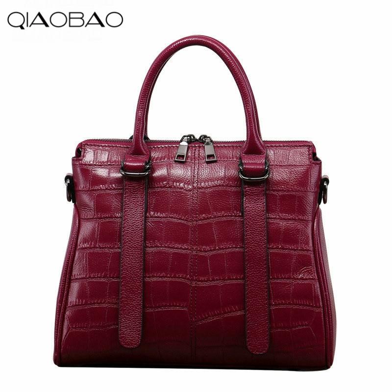 QIAOBAO Fashion Crocodile Pattern Layer Cowhide Ladies Bag Shoulder Diagonal Handbag qiaobao 2018 new korean fashion leather handbag trend of women s shoulder bag diagonal cross flow totes