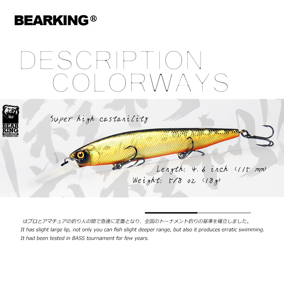 Bearking 2019 new arrival 115mm 18g  slowly floating Fishing Lures Artificial Bait Predator Tackle JERKBAIT for pike and bass