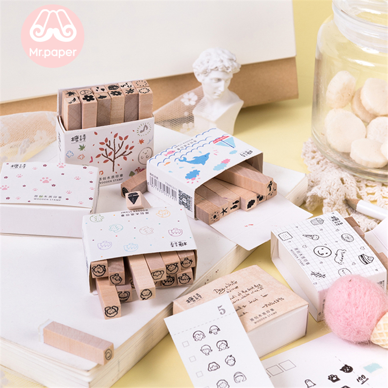 Mr Paper 12pcs/lot Cute Cartoon Month Food Wooden Rubber Stamps For Scrapbooking Decoration DIY Craft Standard Wooden Stamps