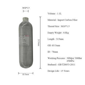 AC3011 Acecare Airforce Condor/Scuba Hpa Pcp Air Tank/Compressed Air Rifle 1.1L 4500psi Carbon Mini Dive Tank for Pcp Air Rifle - DISCOUNT ITEM  48% OFF All Category