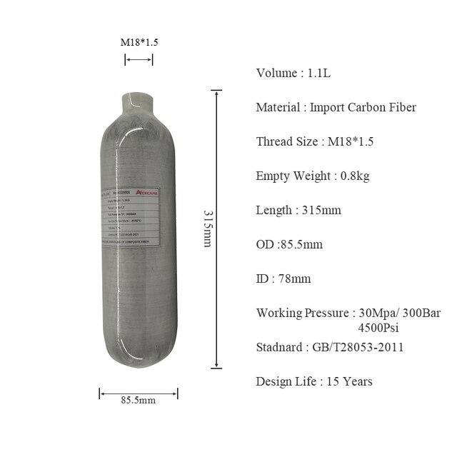 Ac3011 acecare airforce condor/mergulho hpa pcp tanque de ar/rifle de ar comprimido 1.1l 4500psi carbono mini tanque de mergulho para pcp rifle de ar
