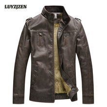 2017 New Casual Mens Jackets Faux Leather Jacket Men Fashion Style Clothing Elastic Motorcycle Outerwear PU Coat LUYZJZEN(China)
