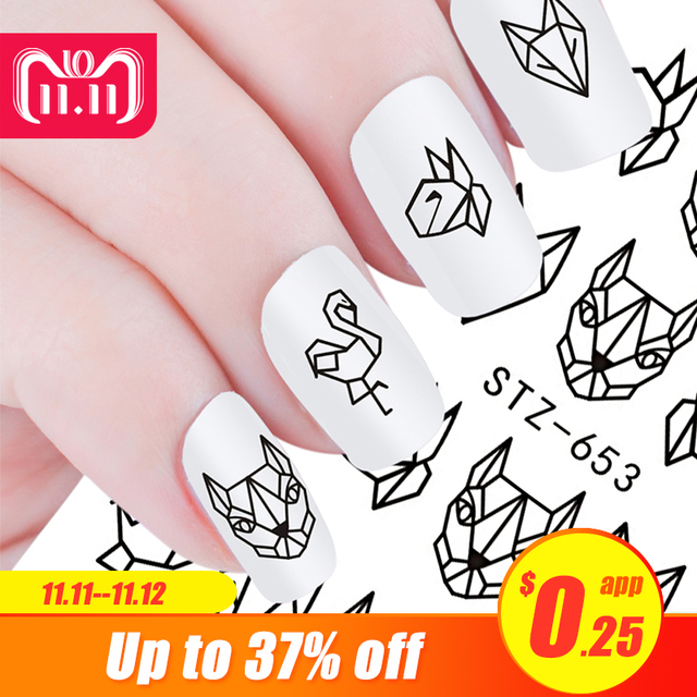 1pcs White Black Nail Stickers Water Transfer Decals Decoration Dream Cather Slider For Nail DIY Tips