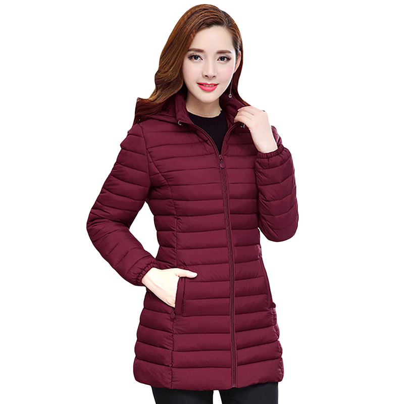 цены 2017 New Women Long Winter Jacket 6xl Plus Size Warm Cotton Coat Pure Color Hooded Female Parkas Slim Outerwear YP0661