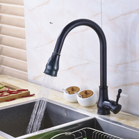 Luxury Black One Handle Single Hole Bathroom Kitchen Water Faucet Deck Mounted Stream Sprayer Nozzle Kitchen
