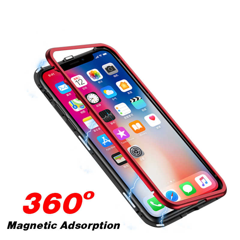 cad180713f4 ... 360 Luxury Magnetic Adsorption Case For iPhone X 8 7 6 6s Plus Metal  Tempered Glass ...