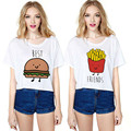 2017 the new fashion female t-shirt kawaii cute hamburgers French fries stitch food t shirt Short sleeve Sister suit top tees