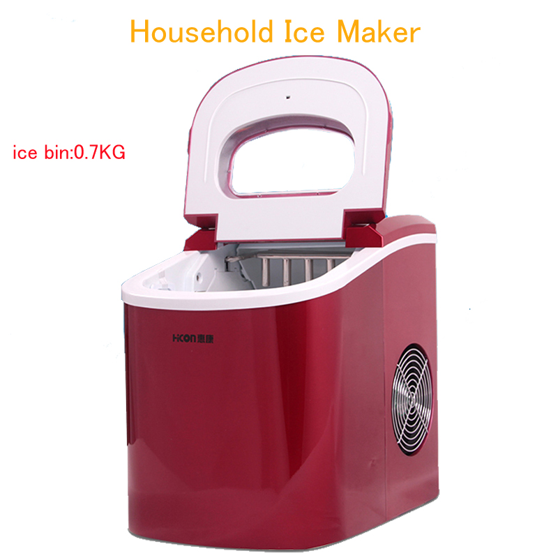 Ice Maker Household Ice Making Machine Small Commercial Ice Maker Milk Tea Shop Ice Machine in Red Color HZB-12A edtid 15kgs 24h portable automatic ice maker household bullet round ice making machine for family small bar mini coffee shop