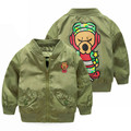 2-9Age Mudkingdom New Spring Boys Jackets Kids Casual Army Green Bomber Jacket Trendy Cartoon Print Outwear Children Sport Coat